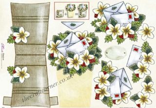 Christmas Post and Flowers Stand Up 3d Decoupage Sheet